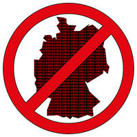 Germany silhouette with the word virus in prohibitory sign