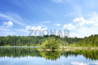 Colorful lake scenery with reflections of trees