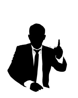 Suit man pointing out