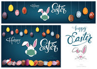 Hanging Colorful Hand Painted Easter Eggs and White Bunny