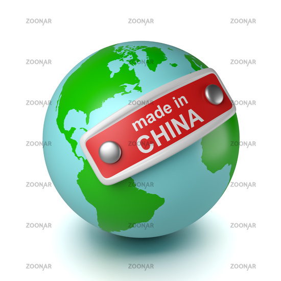 World with Made in China Text on Label 3D Illustration on White Background