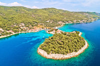 Aerial view of Prizba on island Korcula