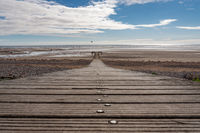A wooden walkway in Seascale, Cumbria, England