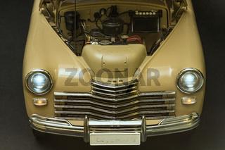 engine bay view of a retro car
