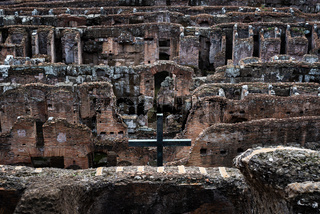 Galleries under the central arena of the Colosseum in Rome
