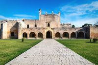 Path to the facade of the Convent de San Bernardino de Siena in Valladolid, Yucatan, Mexico