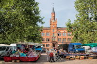 bitterfeld, germany - 19.06.2019 - market square with town hall