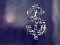 Dollar sign made of ice