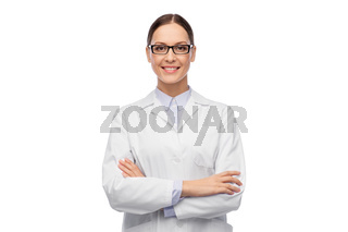smiling female doctor in glasses and white coat