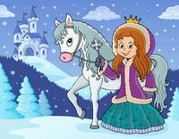 Winter princess with horse image 2