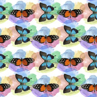 seamless pattern with butterflies on watercolor background.