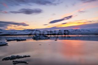 Sunset in Jokulsarlon, Iceland