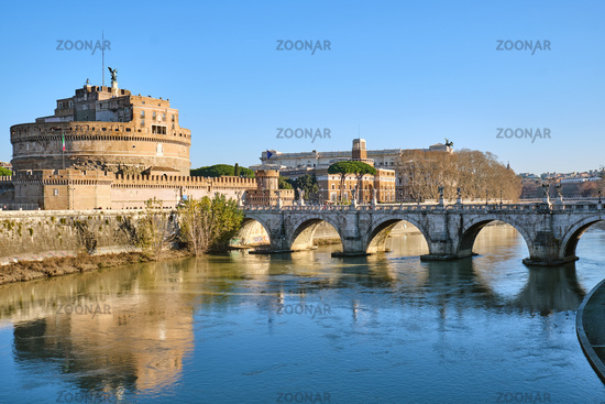 The Castel Sant Angelo and the Sant Angelo bridge in Rome on a sunny winter day