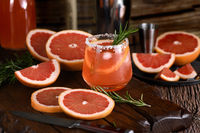 Cocktail tequila fresh grapefruit juice combined and rosemary. A festive drink is ideal for brunch,