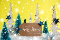 Trees, Snowflakes, Yellow Background, Label, Merry Christmas And Happy New Year