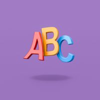 ABC Funny Text on Purple Background