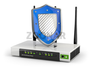 Internet security. Router with shield.