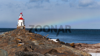 The Wisconsin Point Light is a lighthouse located near Superior on Wisconsin Point Rainbow in the background