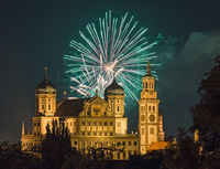 Fireworks over the city hall in Augsburg, Bavaria, Germany