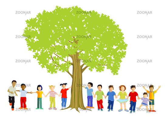 Happy children together under the tree