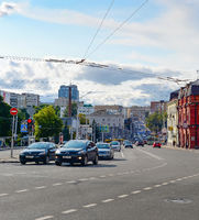 Central street, traffic, car, Minsk