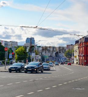 Central street, traffic, car, Minsk