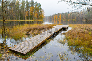 Landscape with forest and lake in Finland