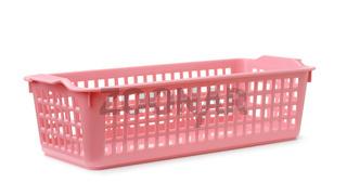 Pink rectangular plastic storage basket