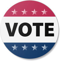 red and blue VOTE sticker or sign isolated on white