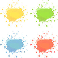 paint or ink splashes isolated on white
