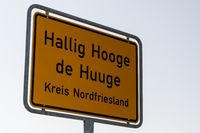 Town sign, Hallig Hooge, North Frisia, Schleswig-Holstein, Germany