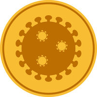 Vector Flat Gold Covid-19 Coin Icon