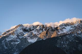 Sunset in rocky mountain range of Austrian Alps in Mieming, Tyrol, Austria