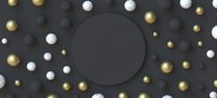 Abstract background circle blank sign with golden, black and white marble balls 3D