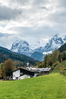 View from Ramsau to the wall of the Schottmalhorn, Berchtesgaden, October 2020