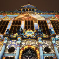 Illuminated market front of the Schuetting, light art in the city 2020, Bremen, Germany, Europe