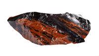 unpolished mahogany Obsidian isolated on white