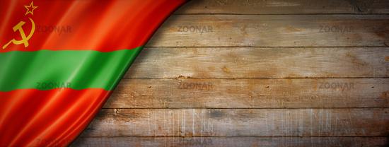 Transnistria flag on vintage wood wall banner