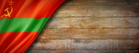 Transnistria flag on vintage wood wall banner