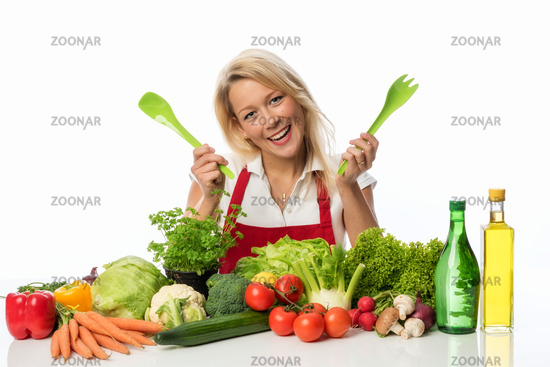 housewife presents many vegetables locations