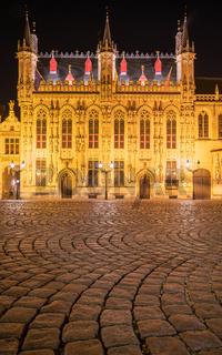 Evening in the historic city of Bruges, Belgium