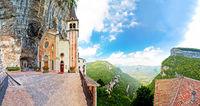 Madonna della Corona church on the rock panoramic view
