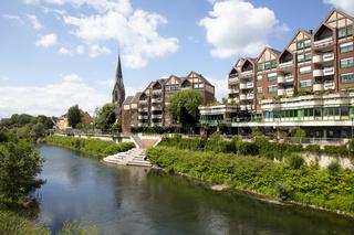 Stadtansicht mit Fluß Lippe und Kirche St. Marien