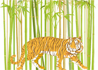 big tiger with jungle background - vector illustration