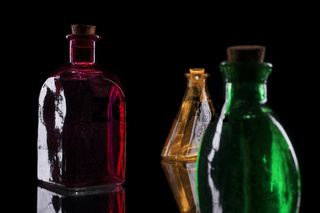 Green yellow and red bottles