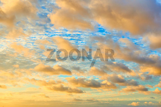 African sunset sky with color clouds