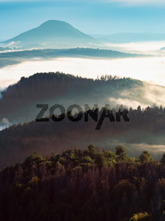 Colorful fog in the mountain valley. Landscape with forests
