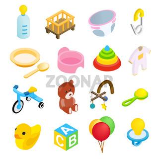 Baby isometric 3d icon set
