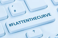 Flatten The Curve hashtag stay at home Coronavirus corona virus infection computer keyboard
