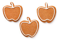 Gingerbread Cookies In Shape Of Apple Isolated